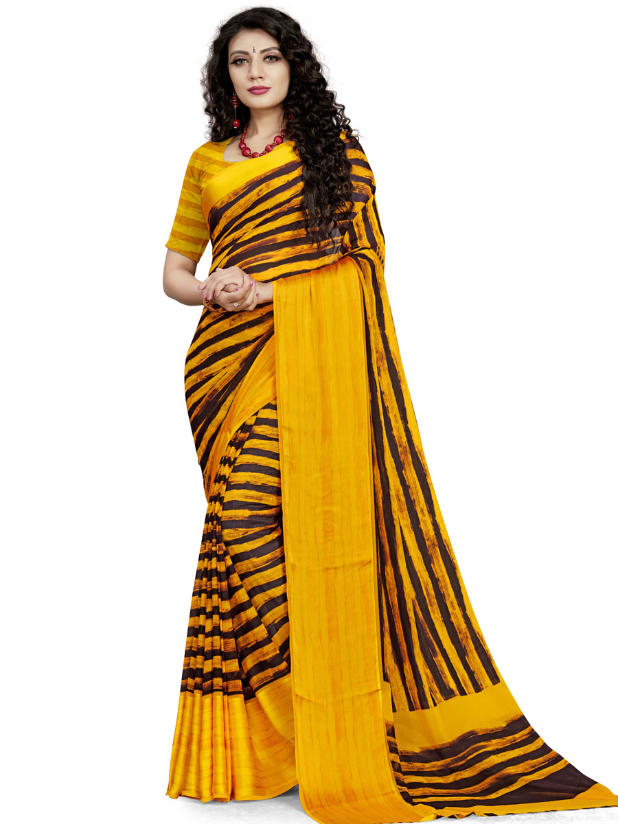 Mustard Yellow and Black Faux Georgette Printed Casual Saree