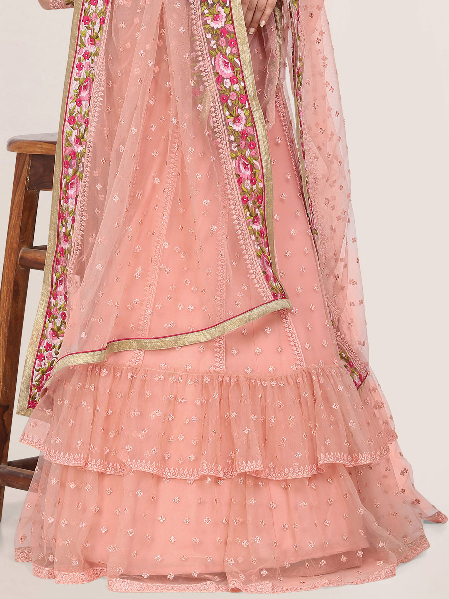 Coral Pink Net Embroidered Festival Lehenga Choli