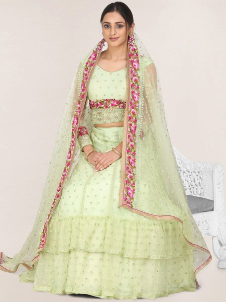 Tea Green Net Embroidered Festival Lehenga Choli