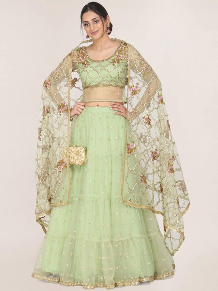 Celadon Green Net Embroidered Festival Lehenga Choli