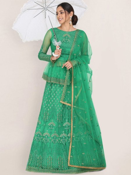 Sea Green Net Embroidered Festival Lehenga Choli