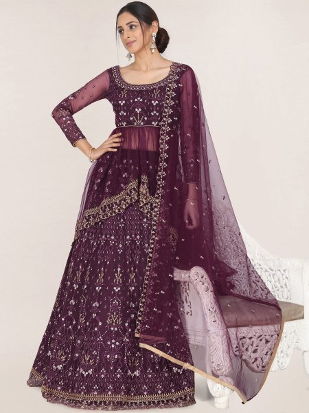 Burgundy Red Net Embroidered Festival Lehenga Choli