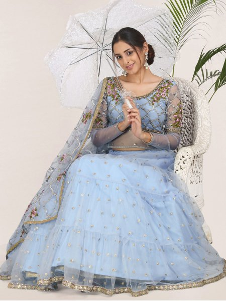 Carolina Blue Net Embroidered Festival Lehenga Choli