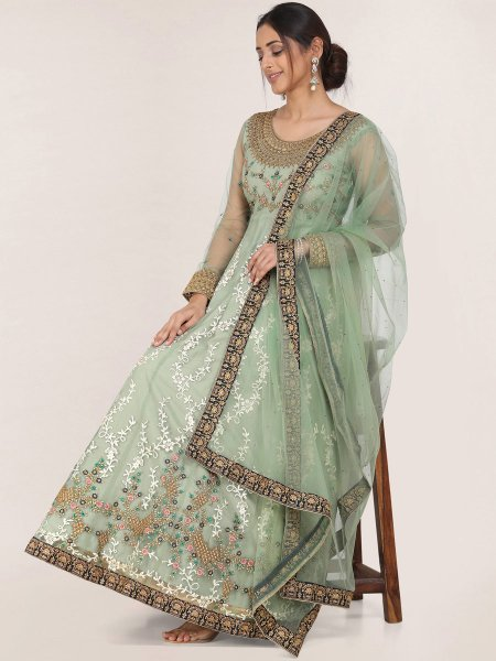 Light Olive Green Net Embroidered Festival Gown