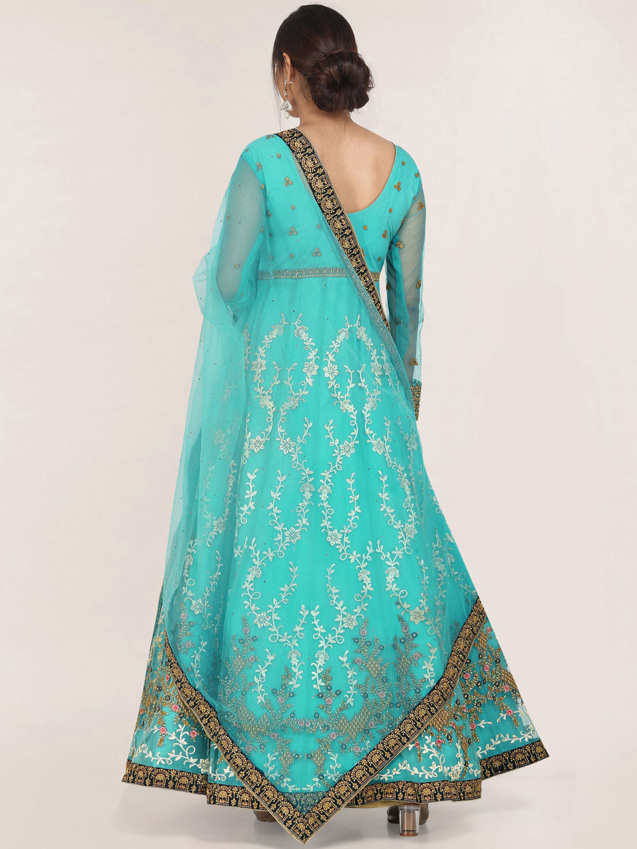 Turquoise Blue Net Embroidered Festival Gown