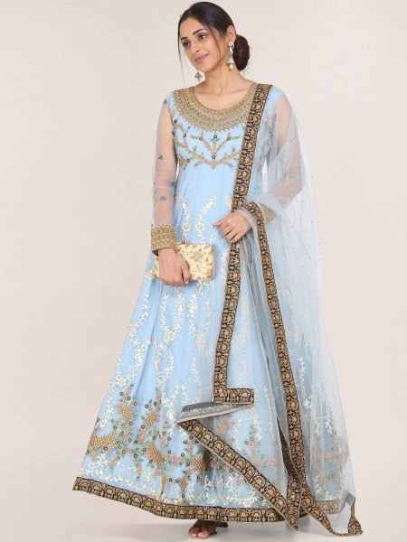 Light Blue Net Embroidered Festival Gown