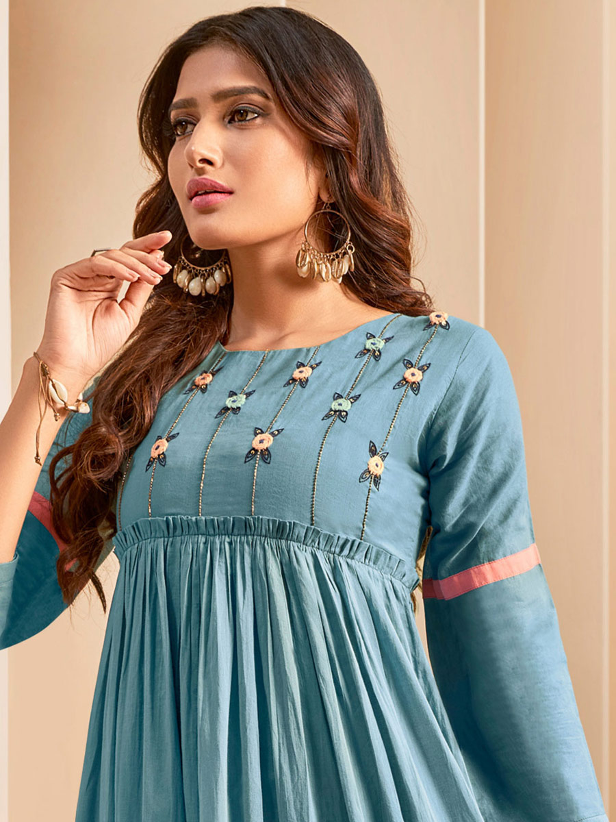 Steel Blue Cotton Embroidered Party Kurti