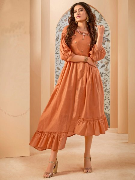 Burnt Orange Cotton Embroidered Party Kurti