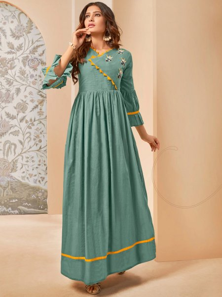 Viridian Green Cotton Embroidered Party Kurti