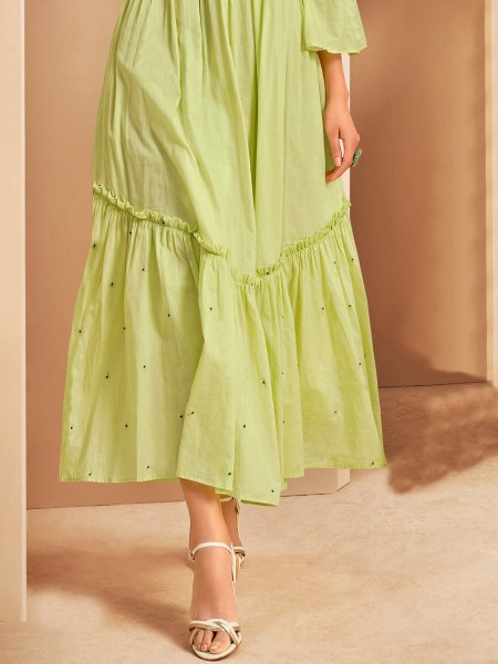 Light Parrot Green Cotton Embroidered Party Kurti
