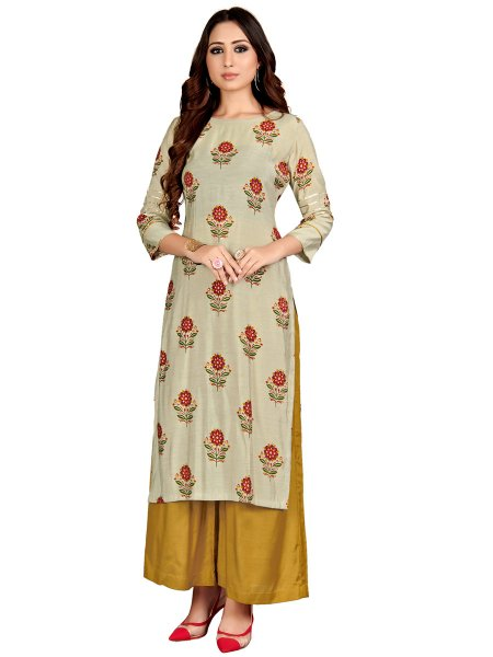 Gray Muslin Printed Party Kurti