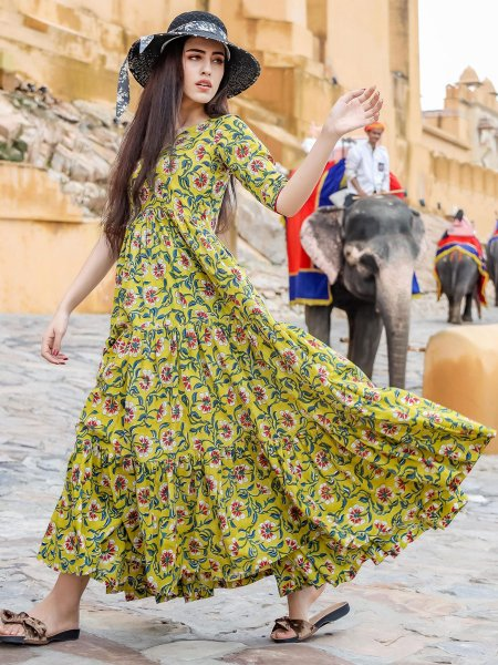 Parrot Green Muslin Printed Casual Gown