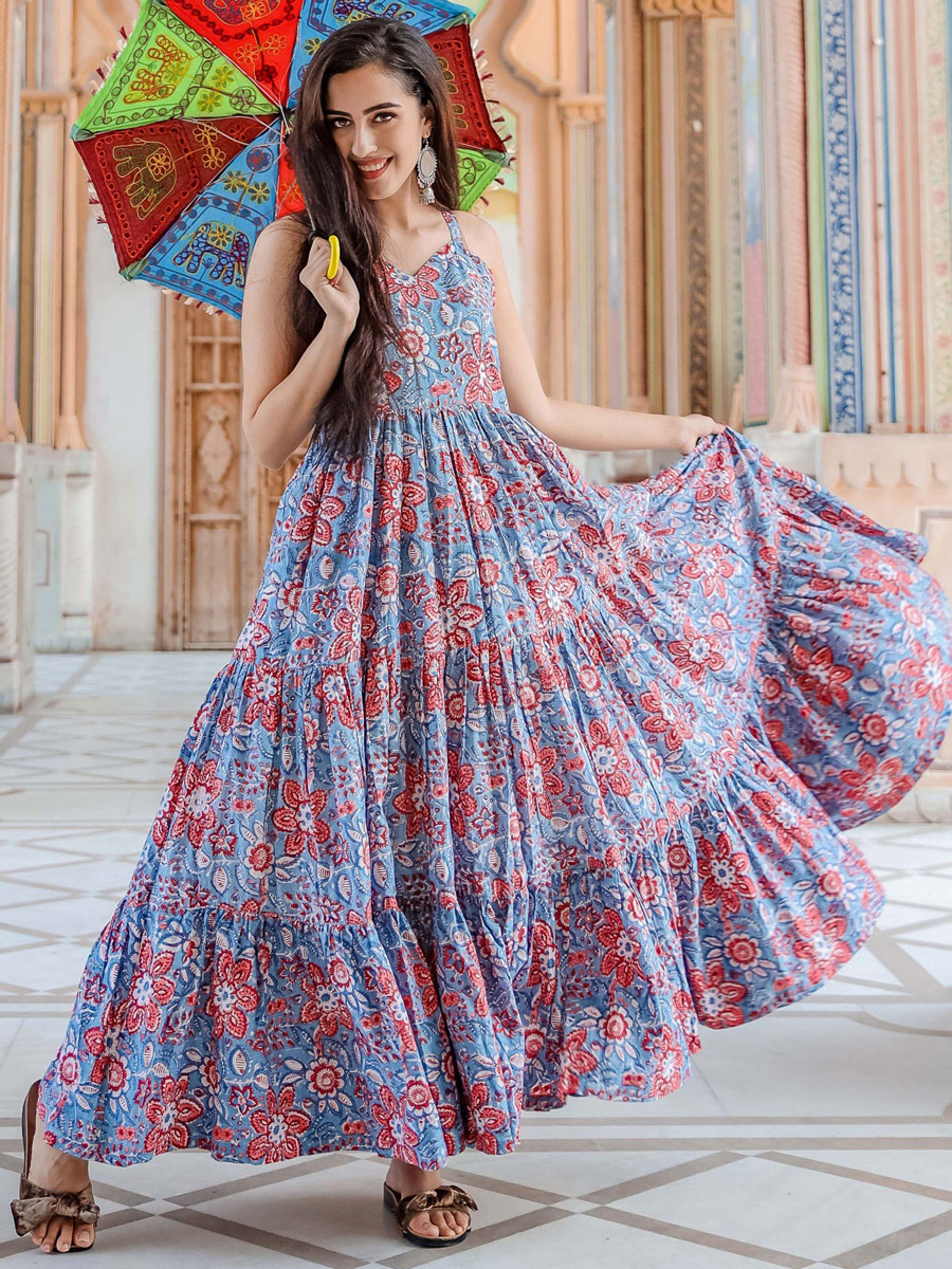 Cornflower Blue Muslin Printed Casual Gown