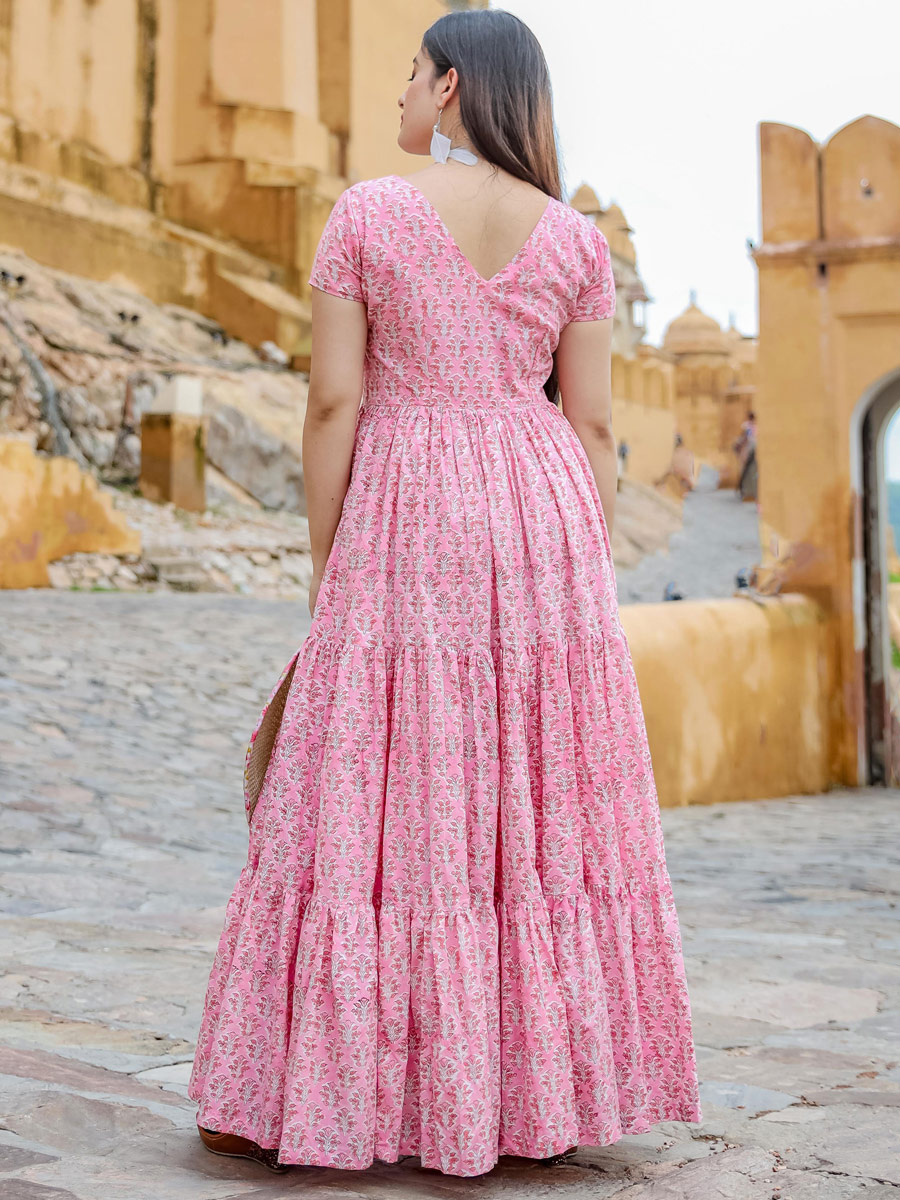 Salmon Pink Muslin Printed Casual Gown