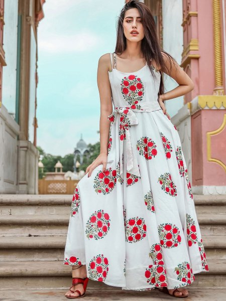 Off-White Muslin Printed Casual Gown
