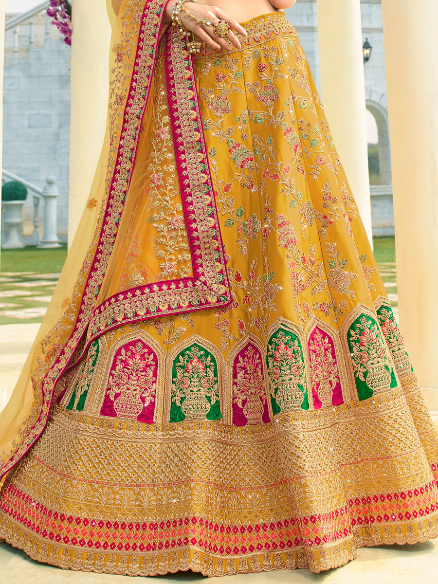 Mustard Yellow Raw Silk Embroidered Wedding Lehenga Choli