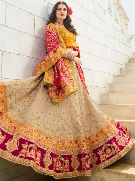 Beige Yellow and Wine Red Satin Silk Embroidered Wedding Lehenga Choli