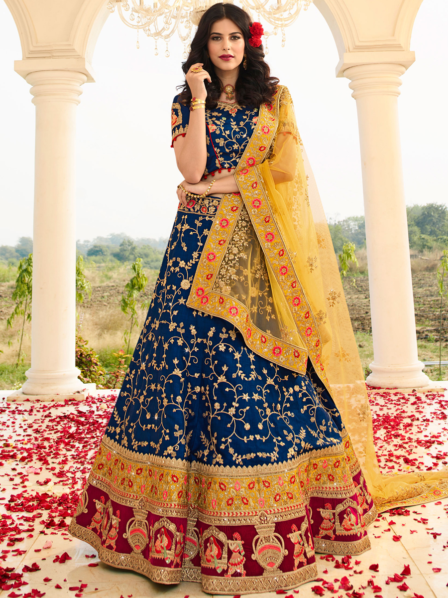 Navy Blue and Wine Red Raw Silk Embroidered Wedding Lehenga Choli