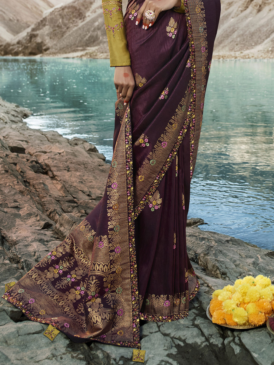 Wine Red Raw Silk Embroidered Festival Saree