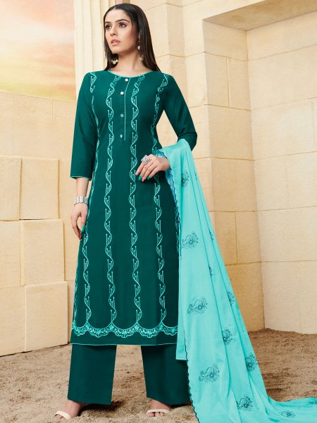 Midnight Green Rayon Embroidered Festival Palazzo Pant Kameez