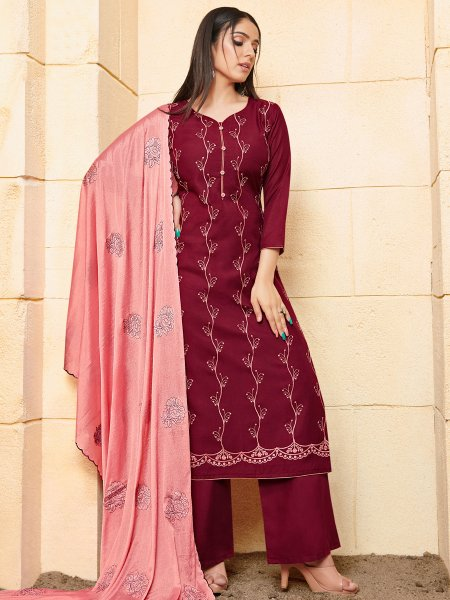 Maroon Rayon Embroidered Festival Palazzo Pant Kameez