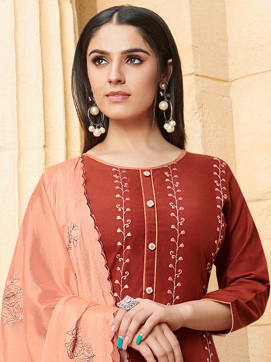 Burnt Orange Rayon Embroidered Festival Palazzo Pant Kameez