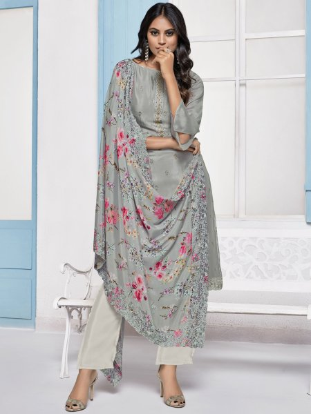 Gray Chinnon Embroidered Festival Pant Kameez