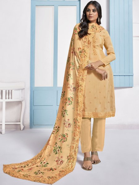 Peach-Orange Chinnon Embroidered Festival Pant Kameez