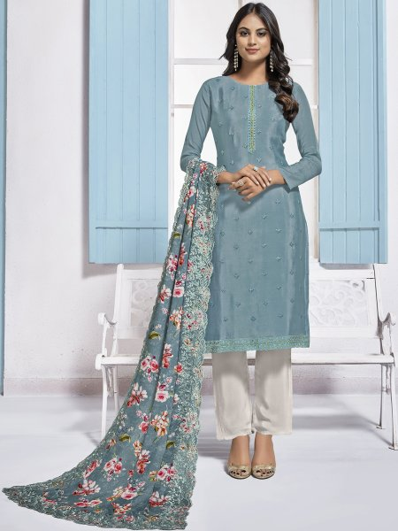 Light Steel Blue Chinnon Embroidered Festival Pant Kameez