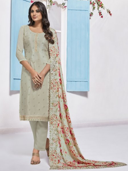 Cream Yellow Chinnon Embroidered Festival Pant Kameez