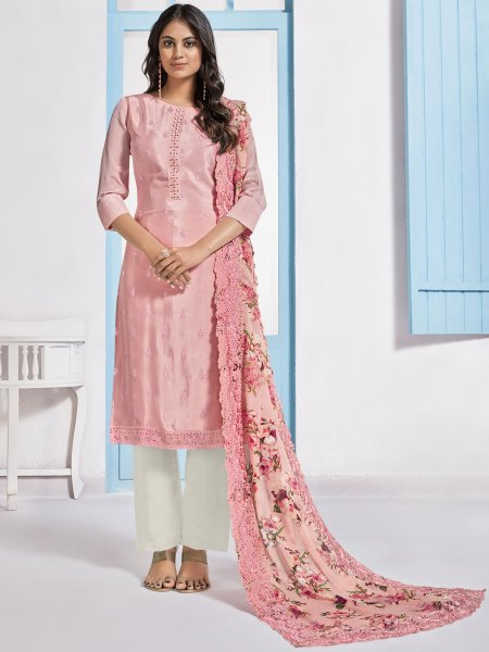 Coral Pink Chinnon Embroidered Festival Pant Kameez
