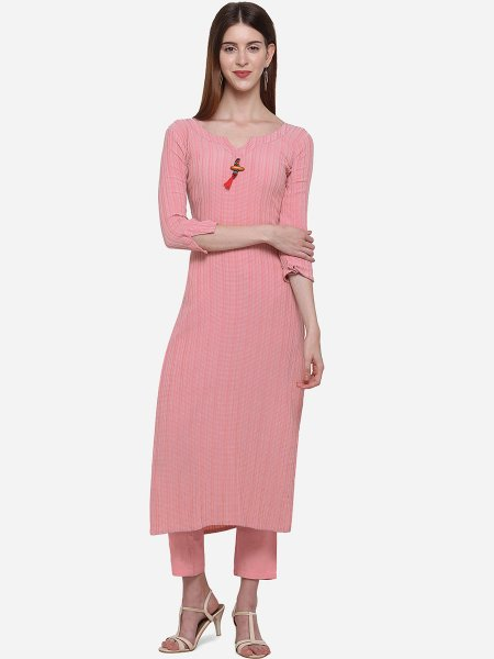 Salmon Pink Viscose Cotton Printed Casual Kurti
