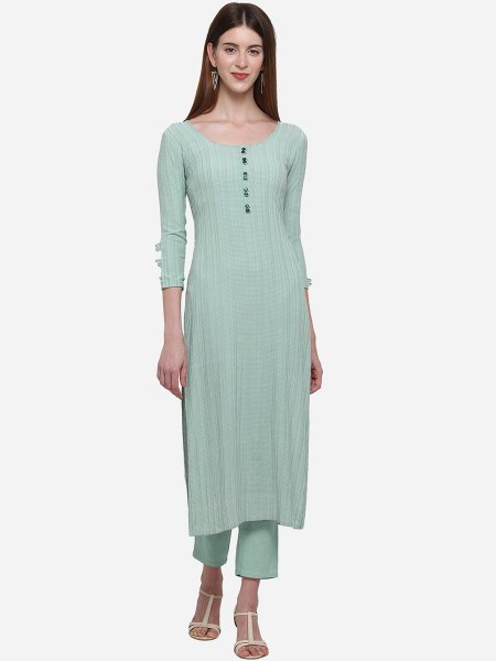 Sky Green Viscose Cotton Printed Casual Kurti