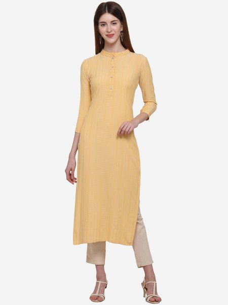 Light Yellow Viscose Cotton Printed Casual Kurti