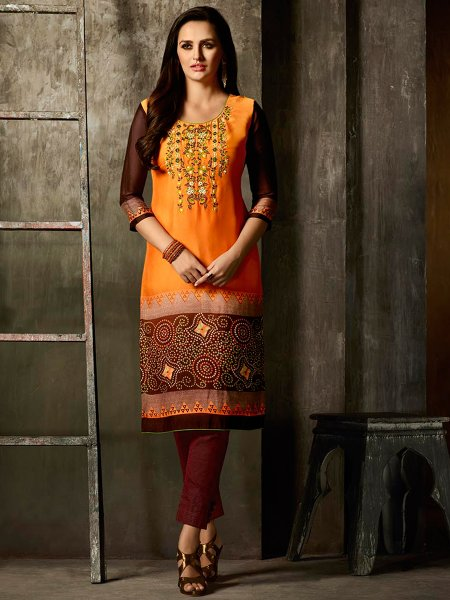 Pumpkin Orange and Maroon Faux Georgette Embroidered Party Kurti