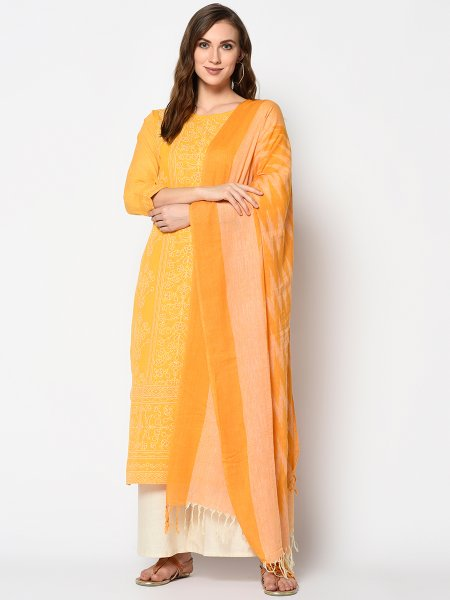 Mustard Yellow Cotton Printed Casual Palazzo Pant Kameez