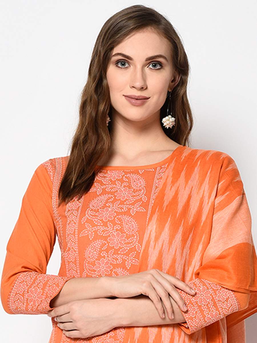 Coral Orange Cotton Printed Casual Palazzo Pant Kameez