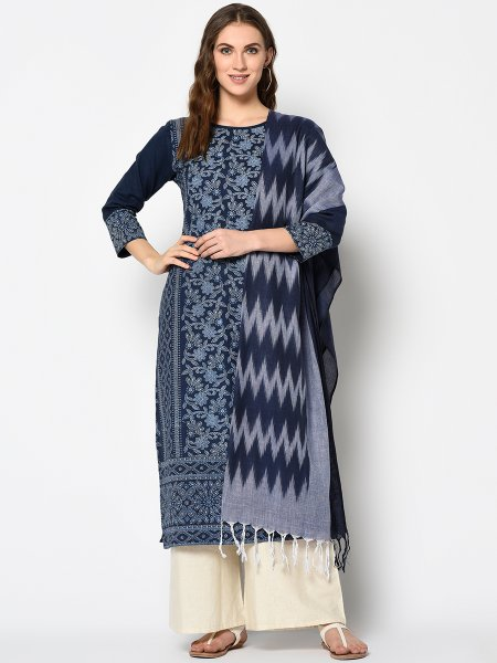 Navy Blue Cotton Printed Casual Palazzo Pant Kameez