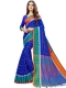 Dark Blue Cotton Silk Printed Casual Saree