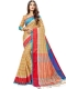 Beige Yellow Cotton Silk Printed Casual Saree