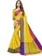 Maize Yellow Cotton Silk Printed Casual Saree