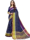 Navy Blue Cotton Silk Printed Casual Saree
