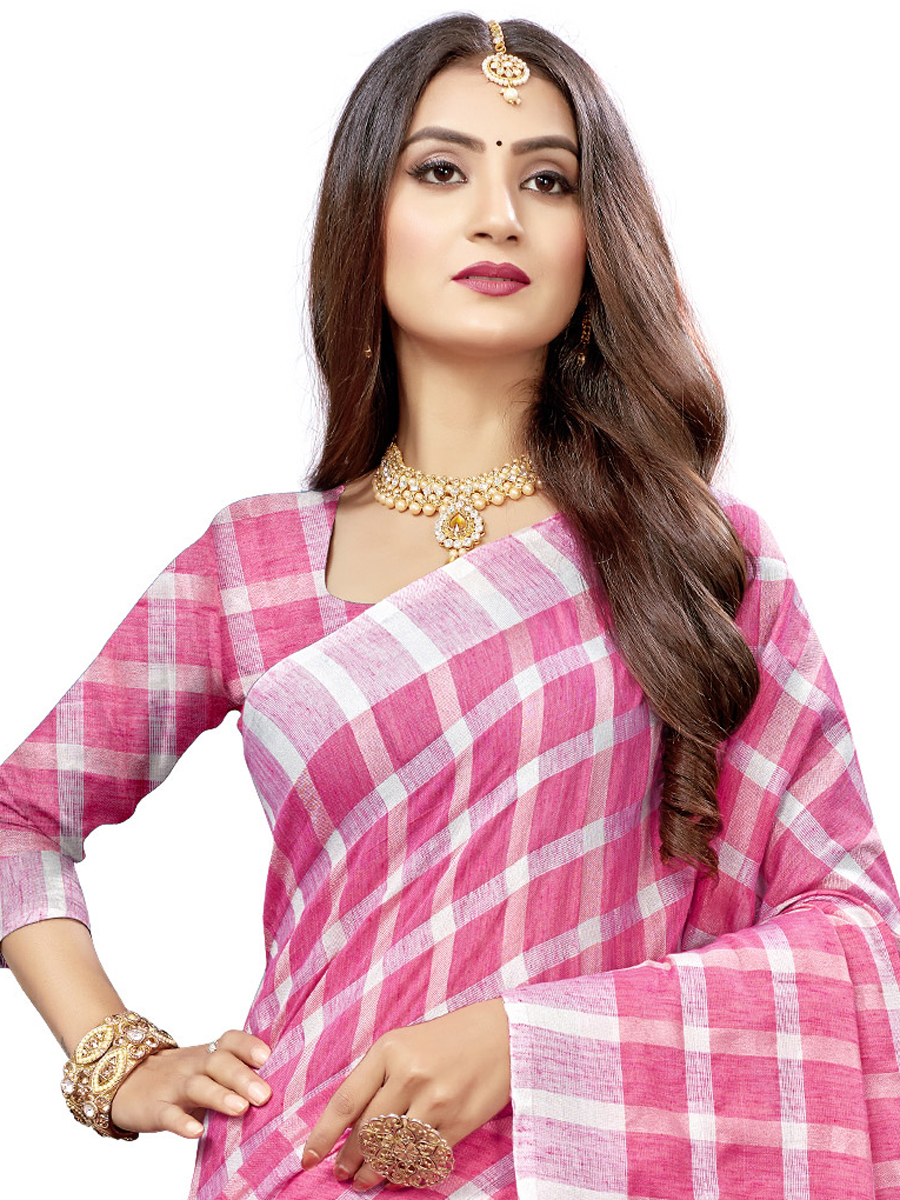 Cerise Pink Cotton Silk Printed Casual Saree