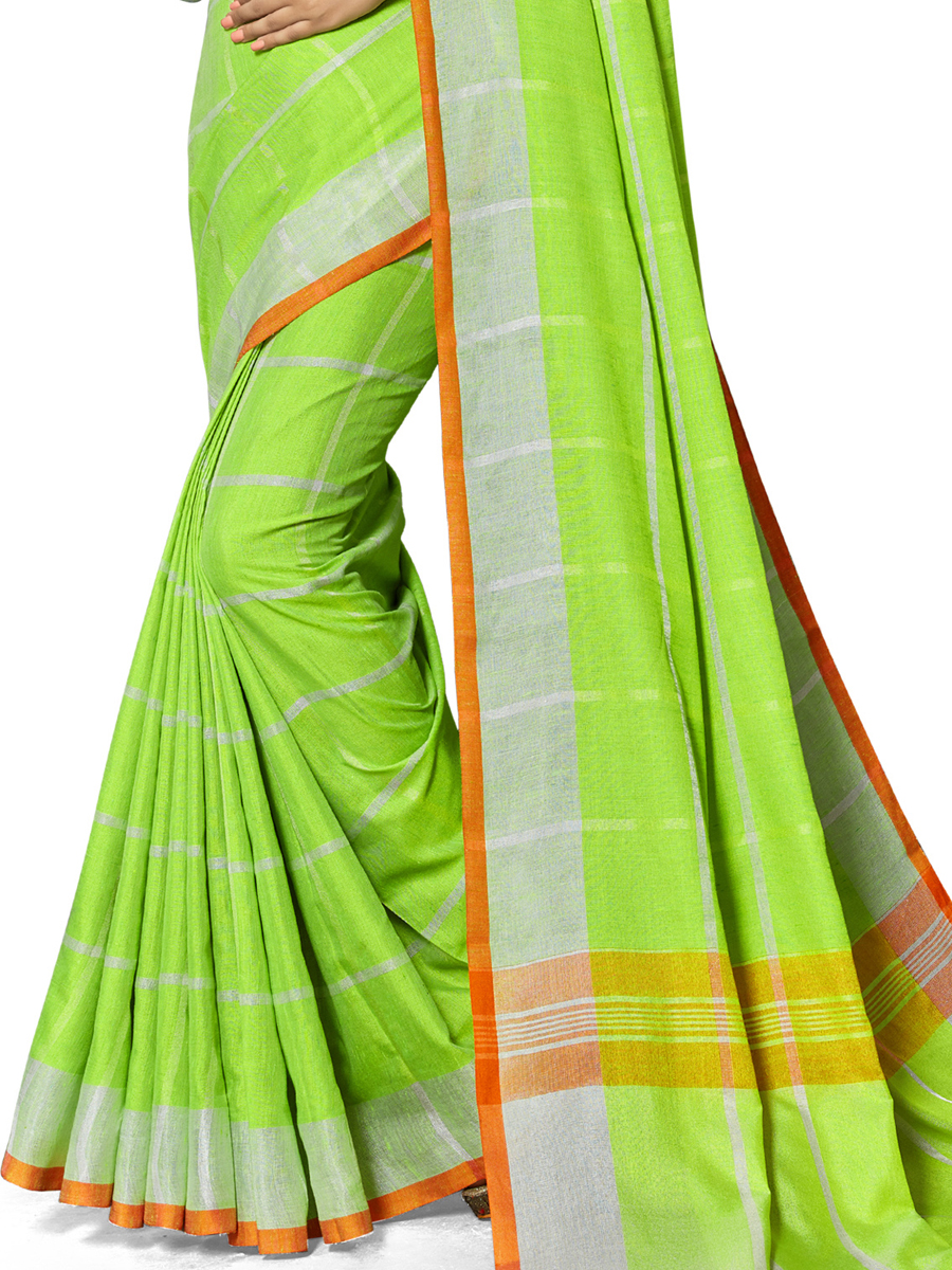 Lime Green Cotton Silk Printed Casual Saree