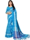 Dodger Blue Cotton Silk Printed Casual Saree