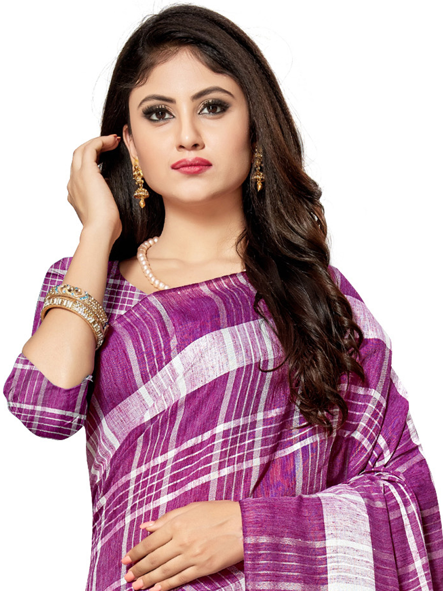Purple Cotton Silk Printed Casual Saree