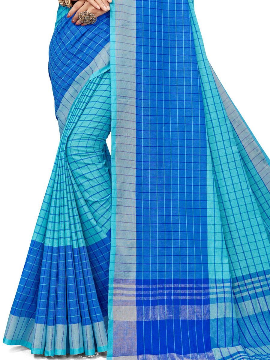 Deep Sky Blue Cotton Silk Printed Casual Saree