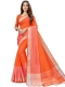 Orange-Red Cotton Silk Printed Casual Saree