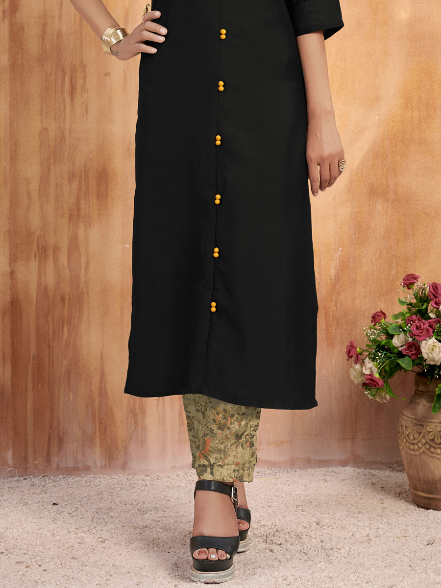 Black Muslin Embroidered Party Kurti