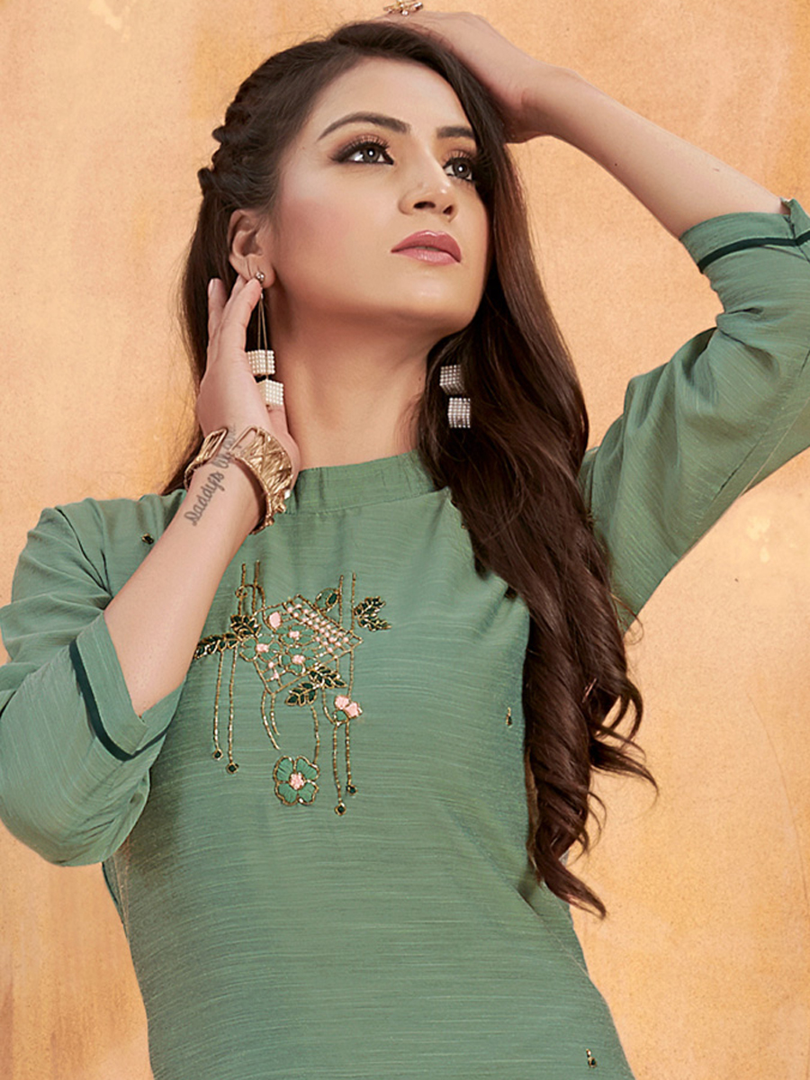 Viridian Green Silk Embroidered Party Kurti
